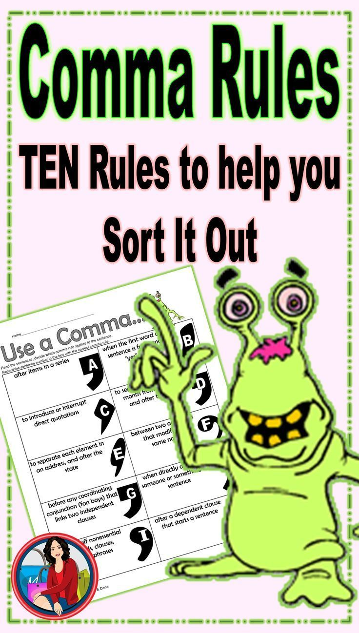 Commas Rules Activity Comma Rules 2nd Grade Reading Teaching Upper Elementary [ 1298 x 736 Pixel ]