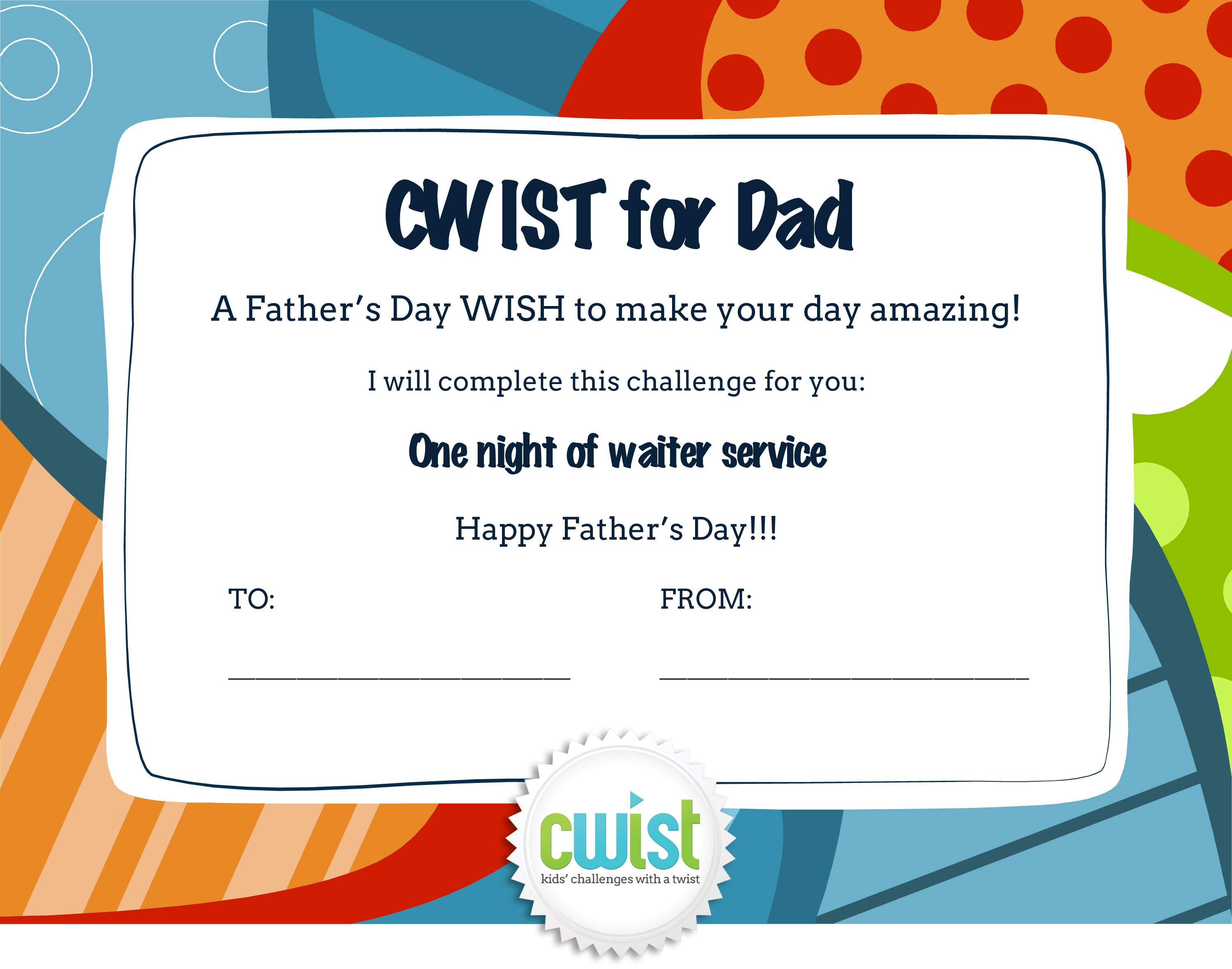 A Father's Day cwist for Dads who are tired after work. Kids can print out this coupon and wait on Dad for one night! #fathersday #kidsactivities