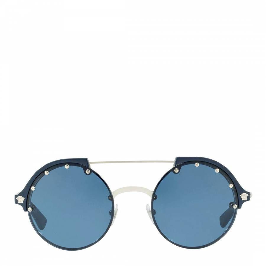 Women's Silver/Blue Versace Sunglasses 53mm