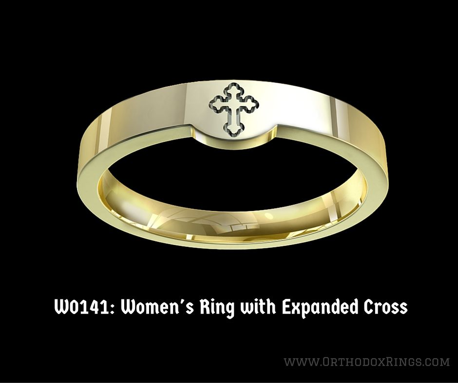 Women S Christian Wedding Band With Expanded Cross Straight Top