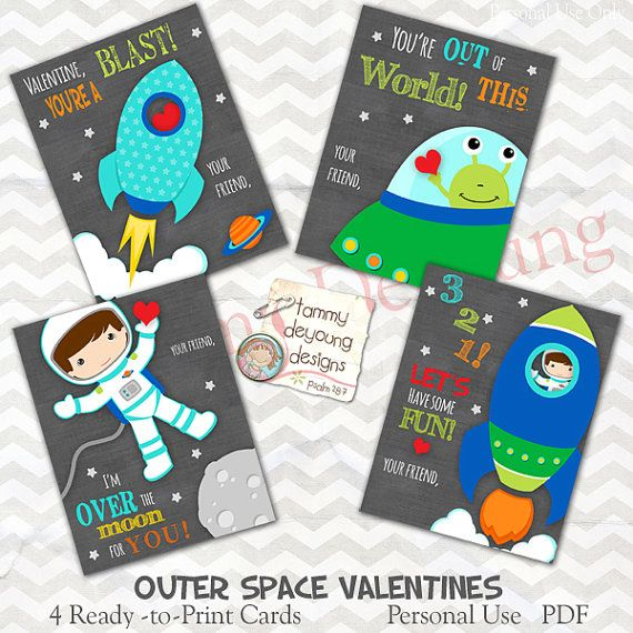 Outer Space Valentine Printable Chalkboard Cards For Kids Have