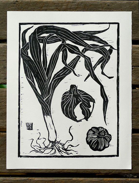 Leek, Onion, and Garlic Hand-Pulled Block Print