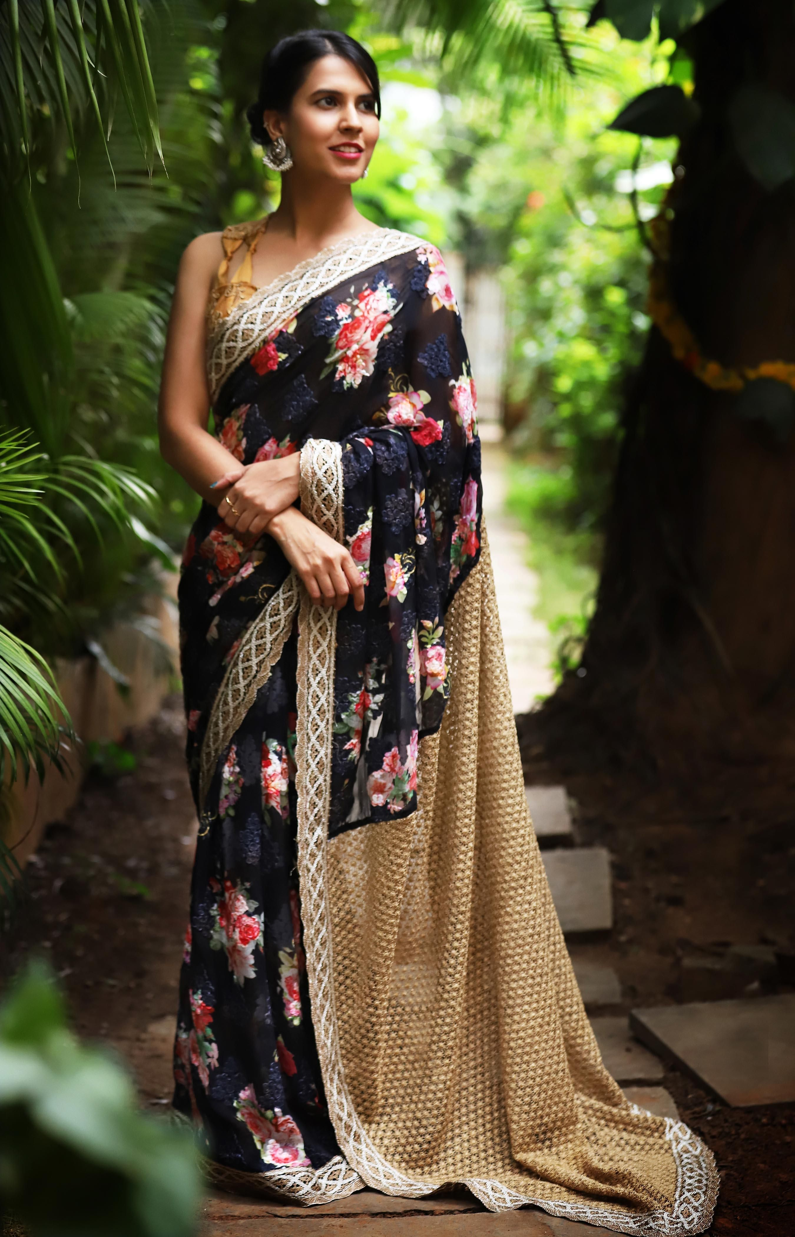 Karachi Chiffon With Rose Print And Emroidery With Gold Chrochet Pallu Saree Blouse Houseofblouse Designer Blouses Online Floral Print Sarees Saree Styles