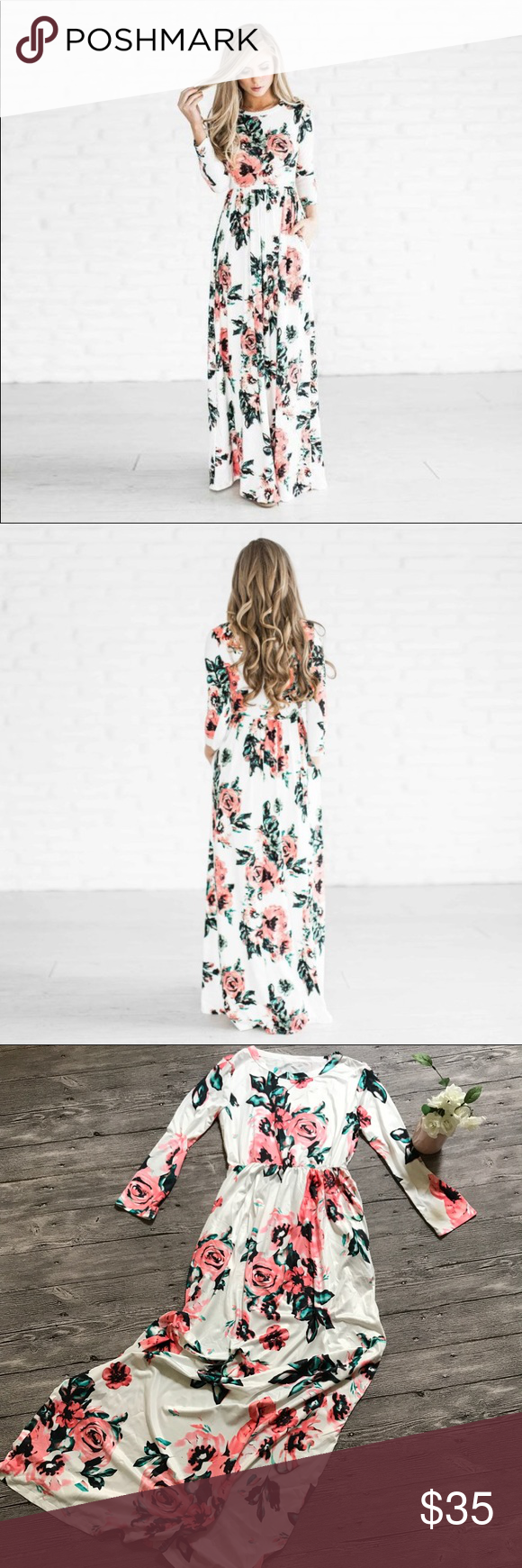 Floral long sleeve maxi dress white tags boutique long sleeve