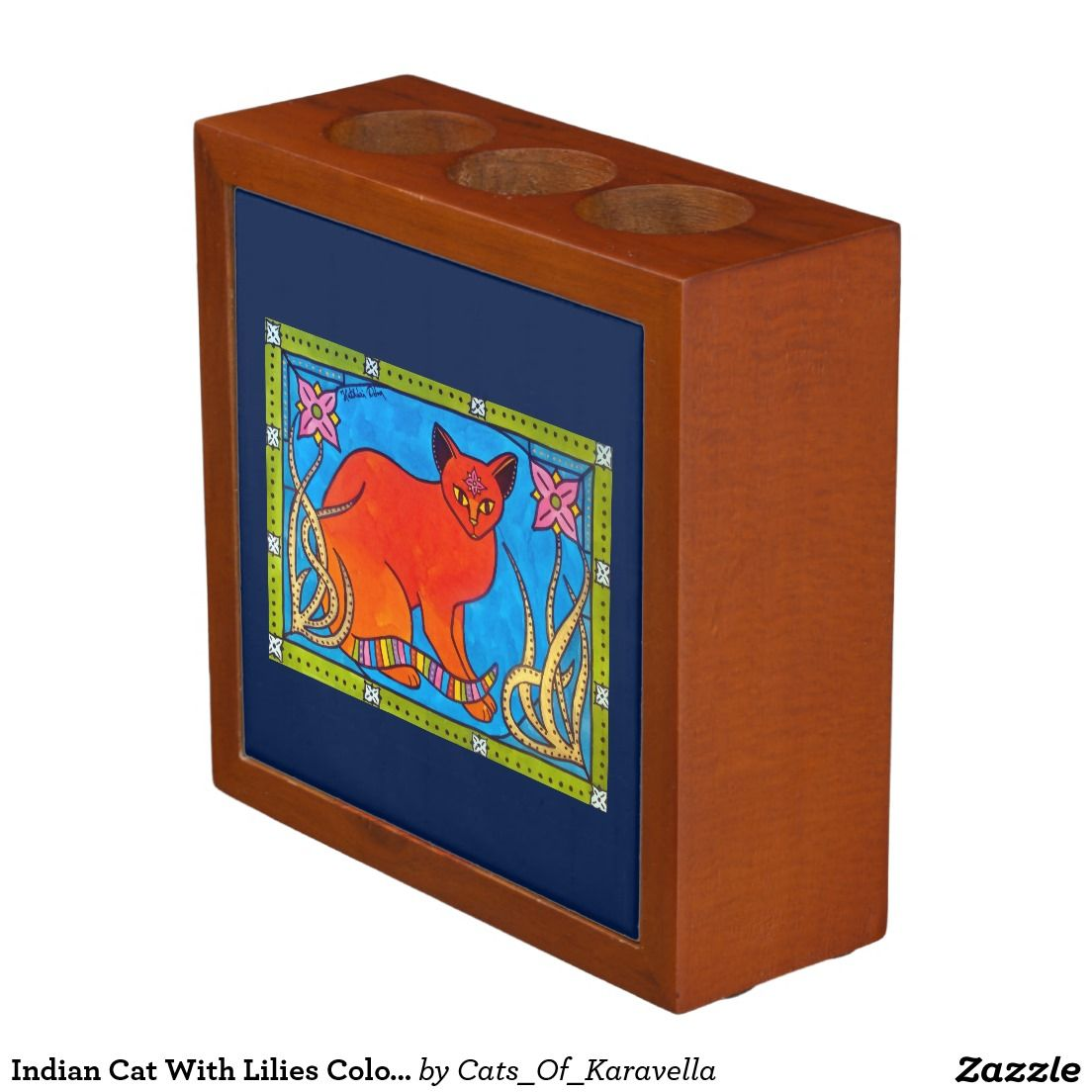 Indian Cat With Lilies Colorful Cat Design Pencil/Pen Holder. Cat Art by Dora Hathazi Mendes from Cats Of Karavella Collection. by #dorahathazi for #catlovers