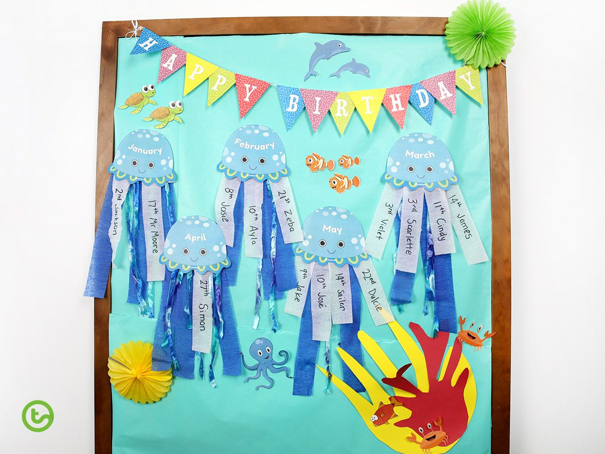 Sea Jelly Birthday Display Template Teaching Resource