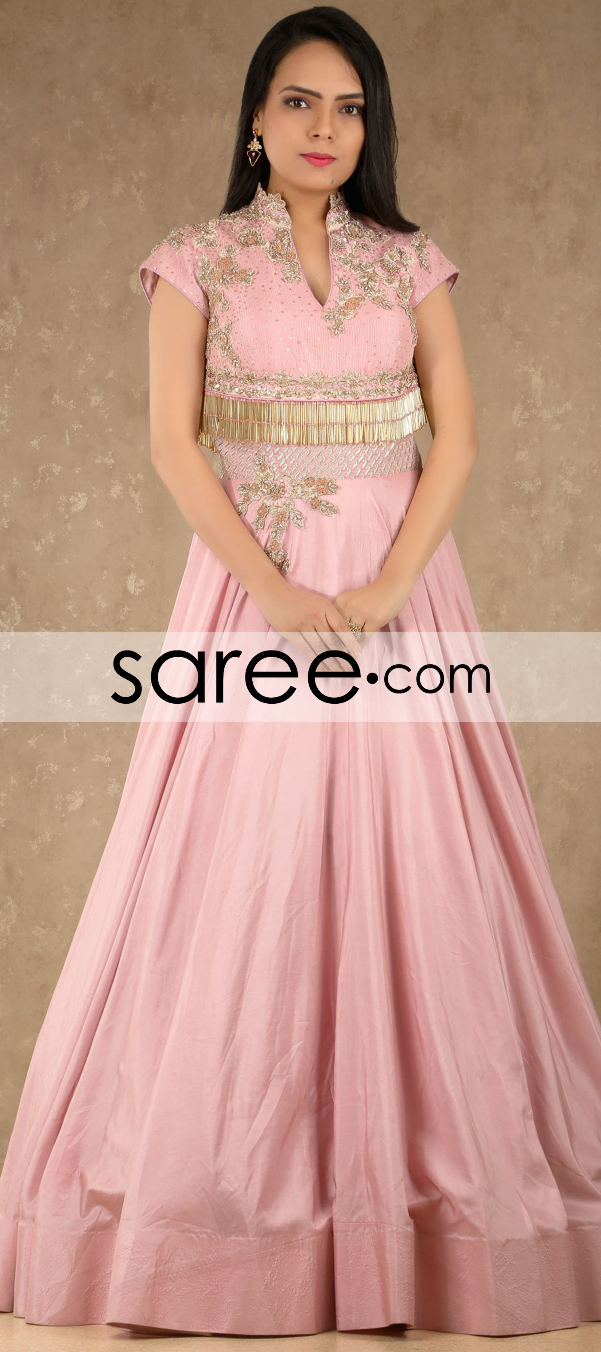 Peach Silk Designer Gown with Embroidery Work By Asopalav ...
