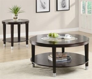 Walker Round Coffee Table with Glass Insert in Cappuccino