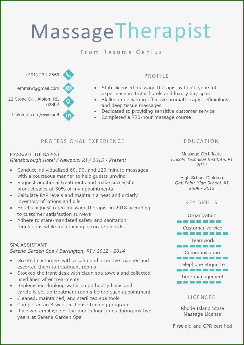 Beautiful massage therapist resume template in 2020 in