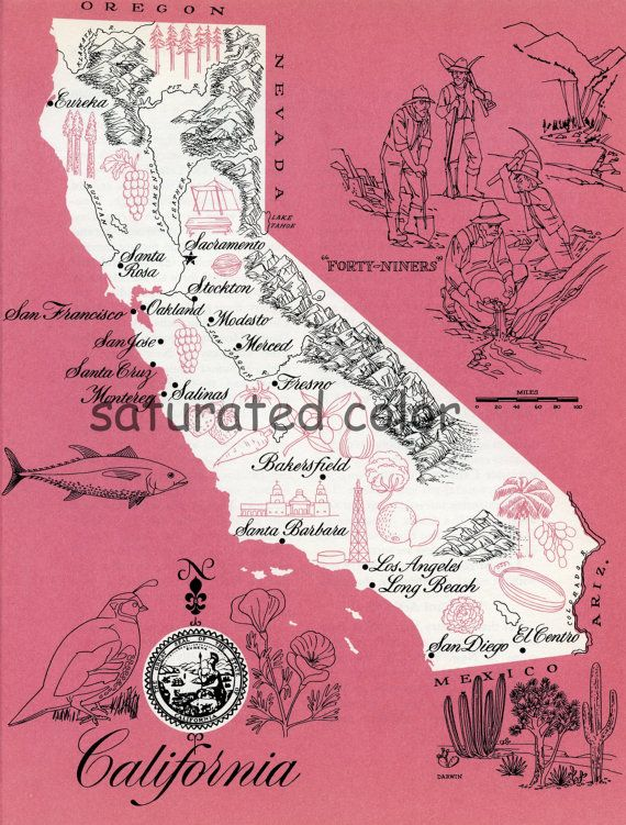 Vintage illustrated map of California Vintage Love Pinterest