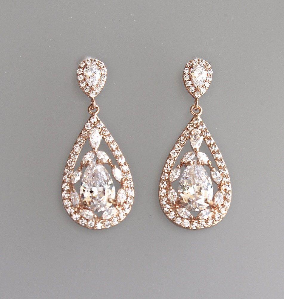 Rose Gold Crystal Teardrop Bridal Earrings Pink Gold Crystal Etsy Rose Gold Bridal Earrings Vintage Wedding Jewelry Gold Bridal Earrings