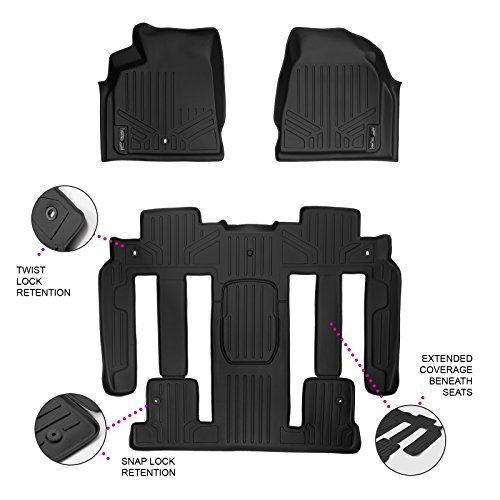 Maxfloormat Floor Mats New Full Coverage For Traverse Enclave Acadia Outlook With Bucket Seats 3 Row Set Bla Chevrolet Traverse Buick Enclave Floor Mats