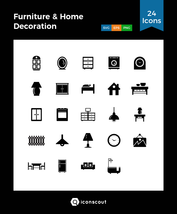 Furniture Home Decoration Icon Pack 24 Solid Icons Furniture