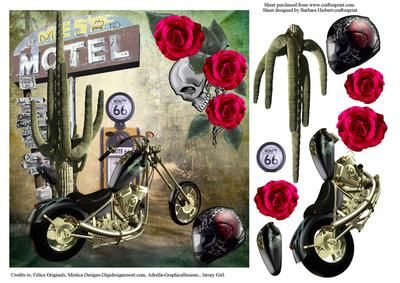 Biker No Vacancy Topper Decoupage on Craftsuprint - Add To Basket!
