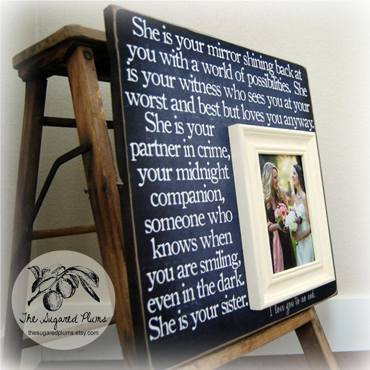 Bridesmaid Gift Best Friend Sister Maid Of Honor Personalized Picture Frame16x16 She Is Your Mirror Wedding