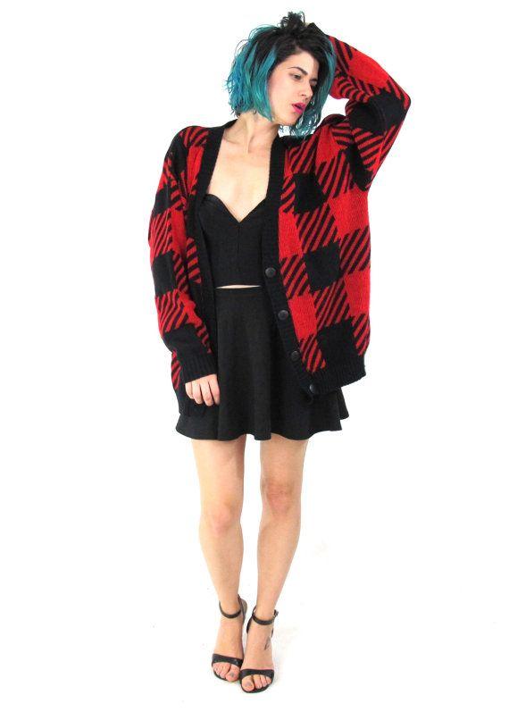 80s Plaid Cardigan Black Red Checkered Cardigan by honeymoonmuse - 80s Plaid Cardigan Black Red Checkered Cardigan Chunky Slouchy