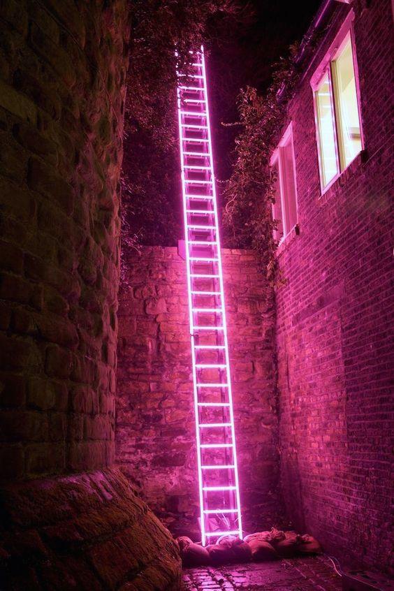 'Eschelle', neon ladder by Ron Haselden, Lumiere Durham 2009