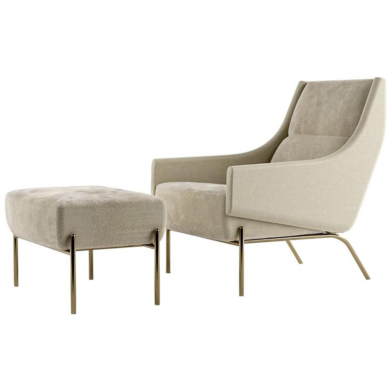 Vista Ottoman Contemporary Footstool In Holly Hunt Fabrics