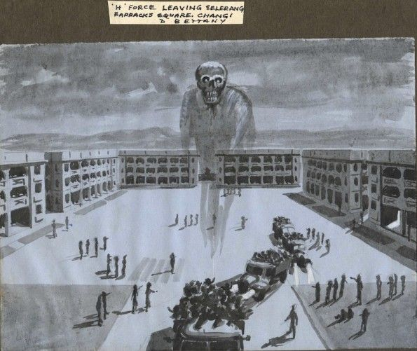 21st December 1942: Struggle to survive on the Railway of Death There are few images available to illustrate the Japanese POW camps. Here is a drawing from Changi Prison on Singapore by Des Bettany by kind permission of Keith Bettany. See more of Des Bettany's work at his online exhibition.