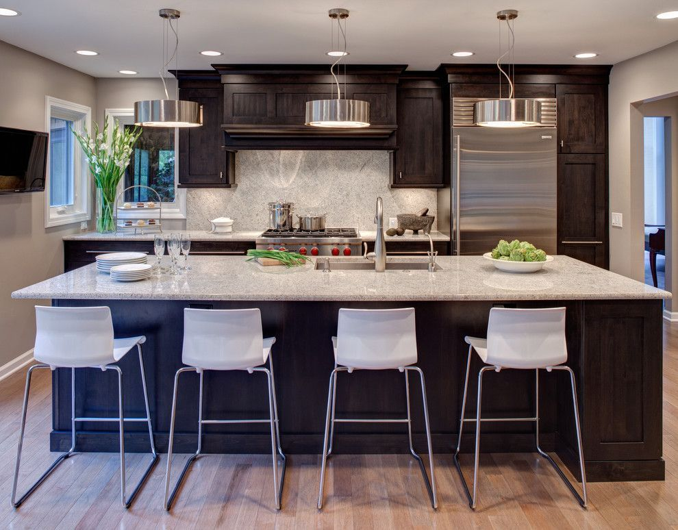 Dallas White Granite With Dark Cabinets Magnificent River