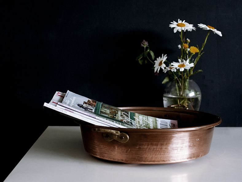 A Large Vintage French Pie Rustic Copper Pan. / europetastetic