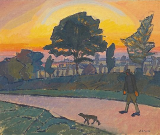 'Sunset, Letchworth, with man and dog', 1912 - Spencer Frederick Gore (1878–1914)