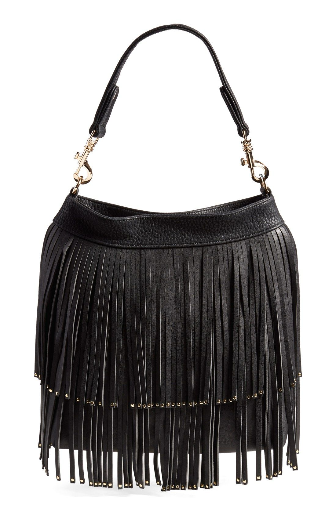 Deux Lux 'Mae' Faux Leather Fringe Hobo | Fringes