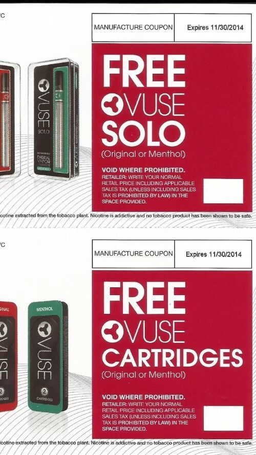 photograph regarding Vuse Alto Printable Coupon named VUSE SOLO AND PACK OF VUSE CARTRIDGES Discount codes Merely Fork out Income