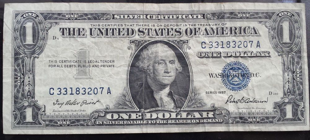 Silver Certificate Us Banknote One Dollar Series 1957 In