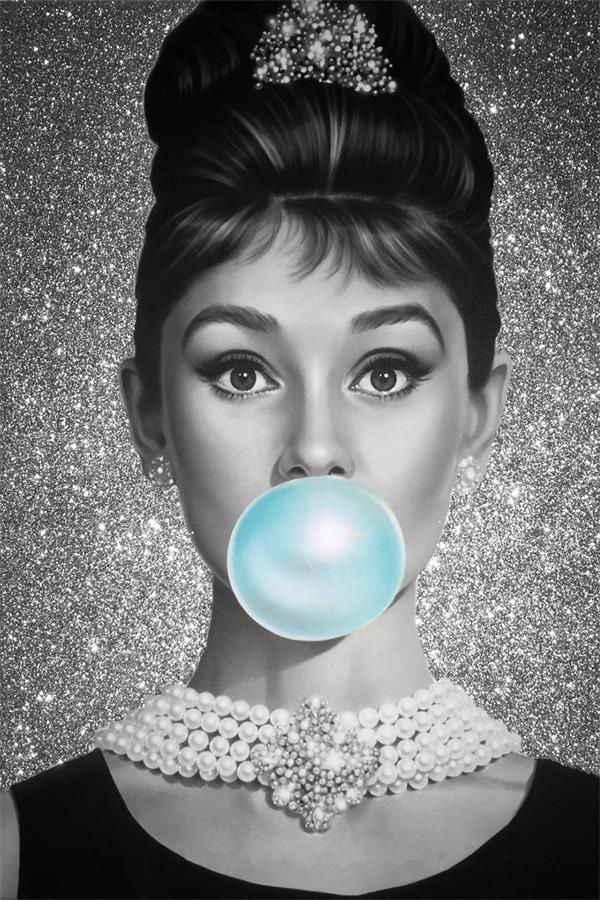a442cca30a Custom Canvas Wall Decals Mural Bubble Audrey Hepburn Poster Audrey Hepburn  Decor Pin-up Girl Stickers Sexy Woman Wallpaper Star
