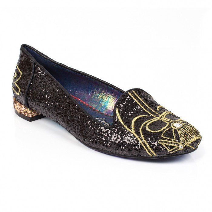 Be seduced by the Dark Side in our striking I Am Your Father flats. This  powerful pair feature black glitter uppers with gold embroidered Darth  Vader design ...