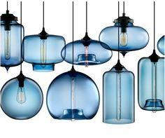 blown modern glass pendant lighting in crimson kitchen