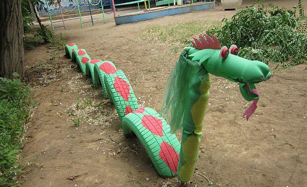 upcycling ideas garden dragon tires