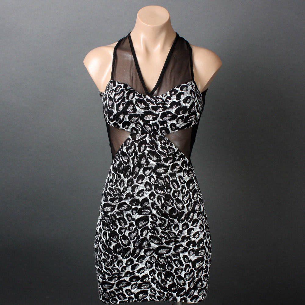 Sexy Metallic Glitter White Leopard Print Sheer Mesh Cut Out