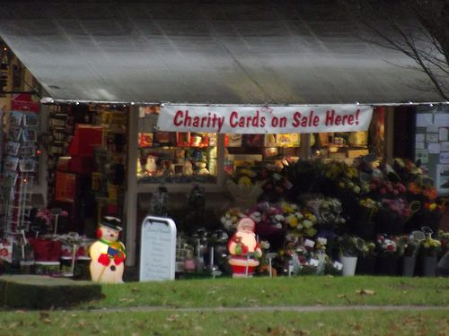 cool Bournville Village Green - Sycamore Road - Christmas decorations - snowman and Santa - Charity Cards on Sale Here!