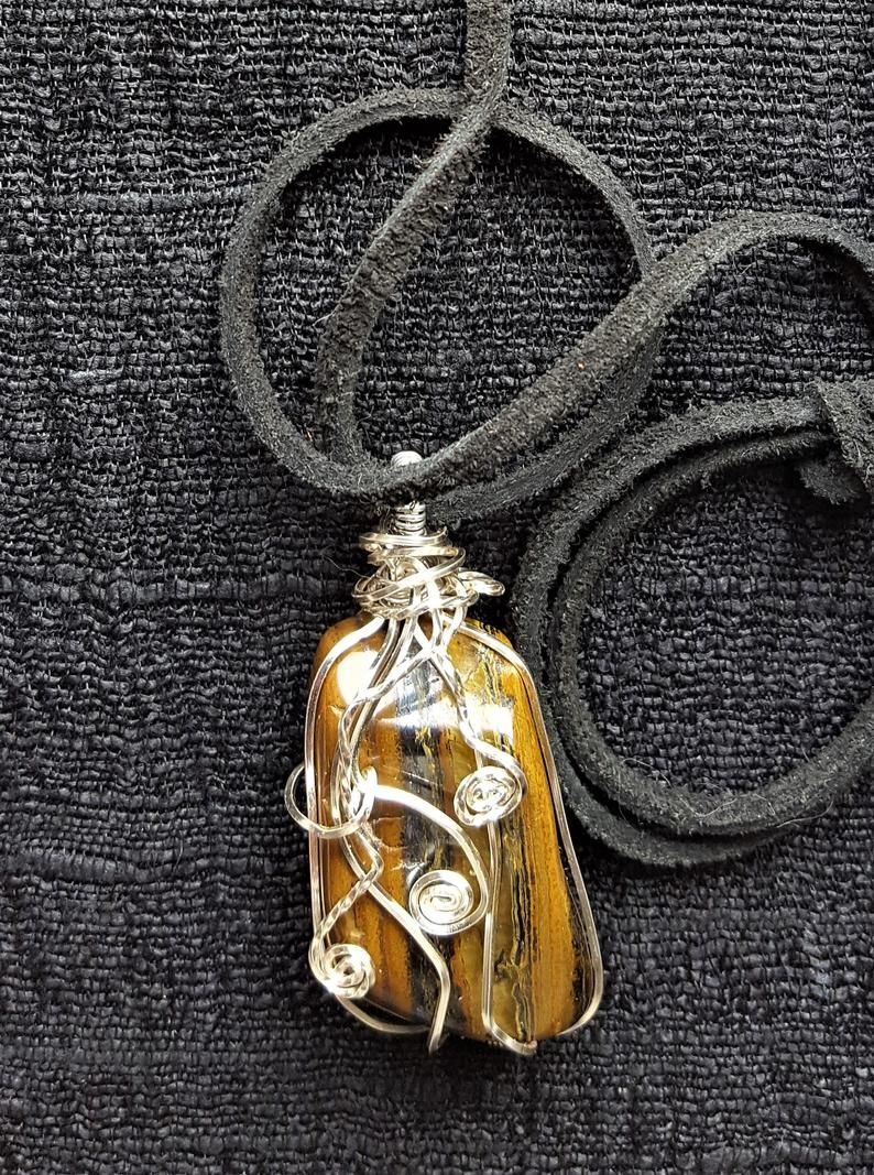 Tiger's Eye Wire-Wrapped Pendant On A Black Suede Cord
