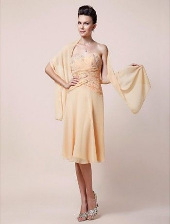 Elegant Sheath/Column Sweetheart Knee-length Chiffon Mother of the Bride Dress With A Wrap