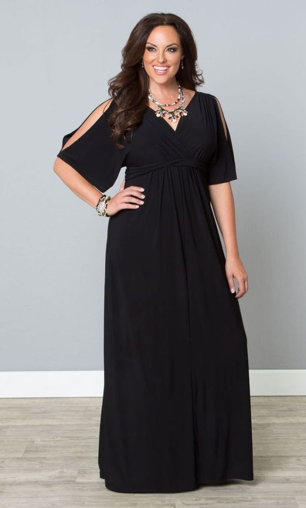 cb376dc164d Black plus size maxi dress with cold shoulder sleeves is a stylish choice  for any event!