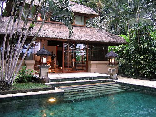 balinese design incorporating the pool into the rear architecturebalinese design incorporating the pool into the rear architecture and landscape