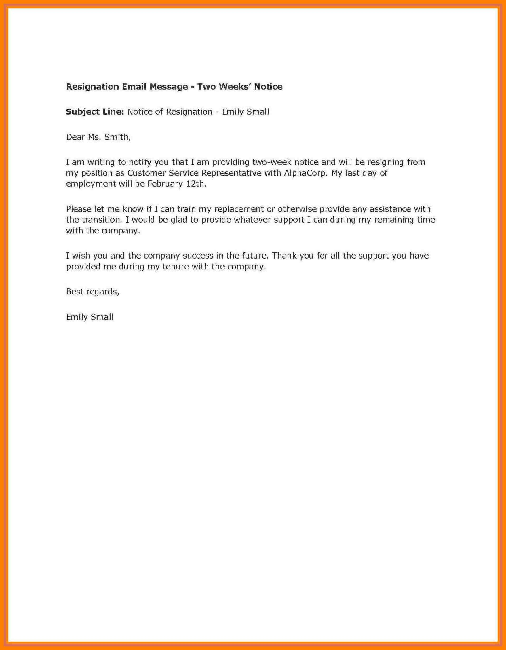 002 Week Notice Template Word Ideas Two Weeks Letter