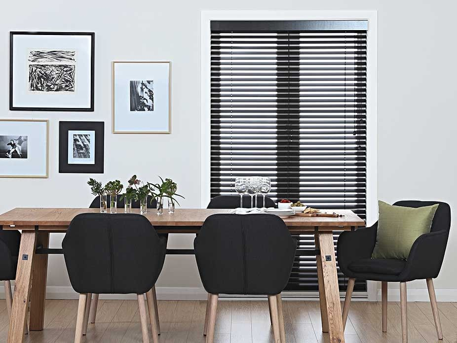 Black Cedar Wooden Blinds 46mm Slat Living Room Blinds