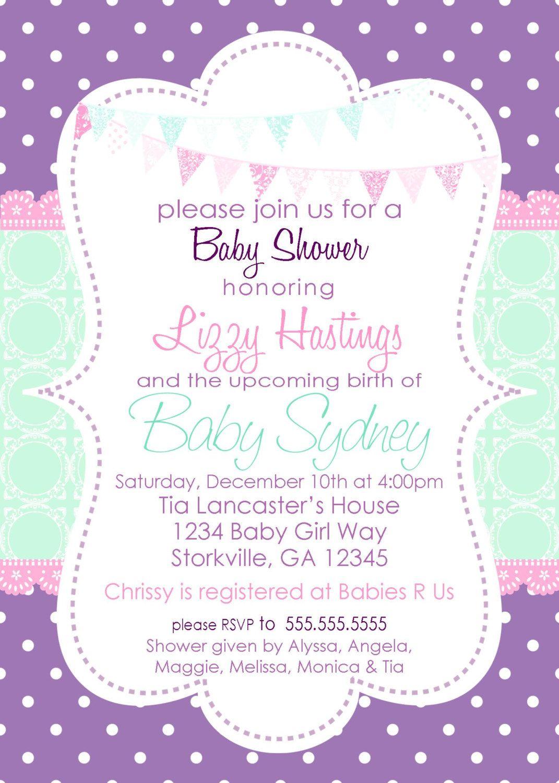 Lavender Baby Shower Invitations Part - 22: Baby Girl Shower Invitation Purple U0026 Aqua By Pickledoodledesigns, $14.00