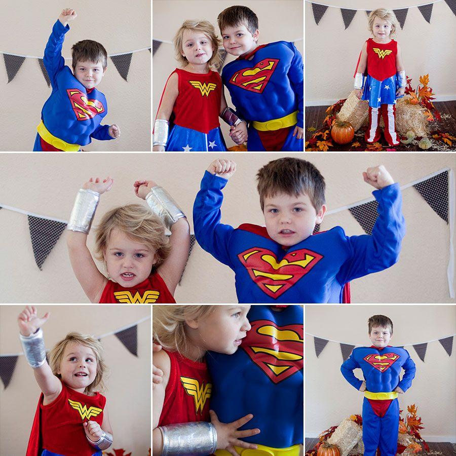 Toddler preschooler halloween super heroes wonder woman and superman