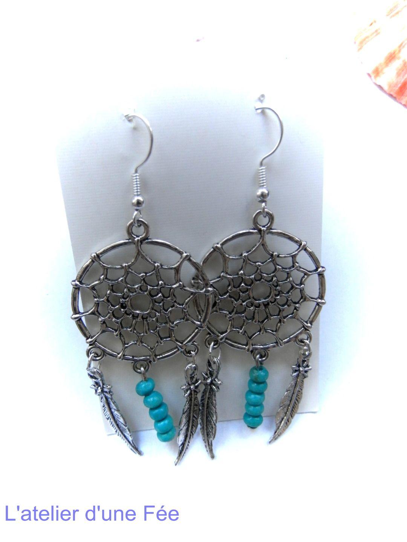boucles d 39 oreilles attrape reves turquoise boucles d. Black Bedroom Furniture Sets. Home Design Ideas