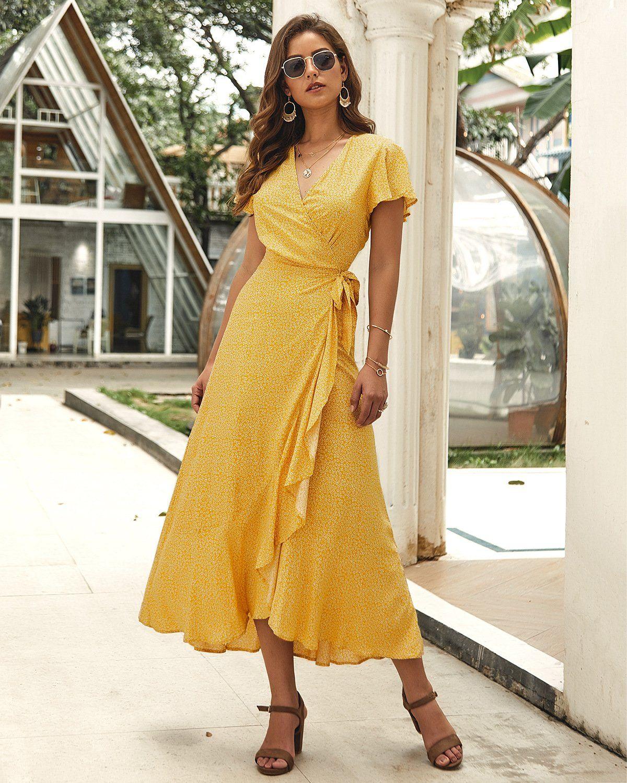Floral Maxi Dress - XL / Yellow