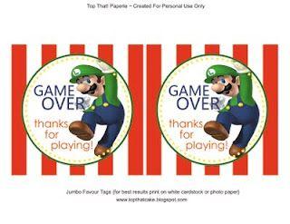 Free Printable Tags Mario Bros Party Ideas Mario Bros Party