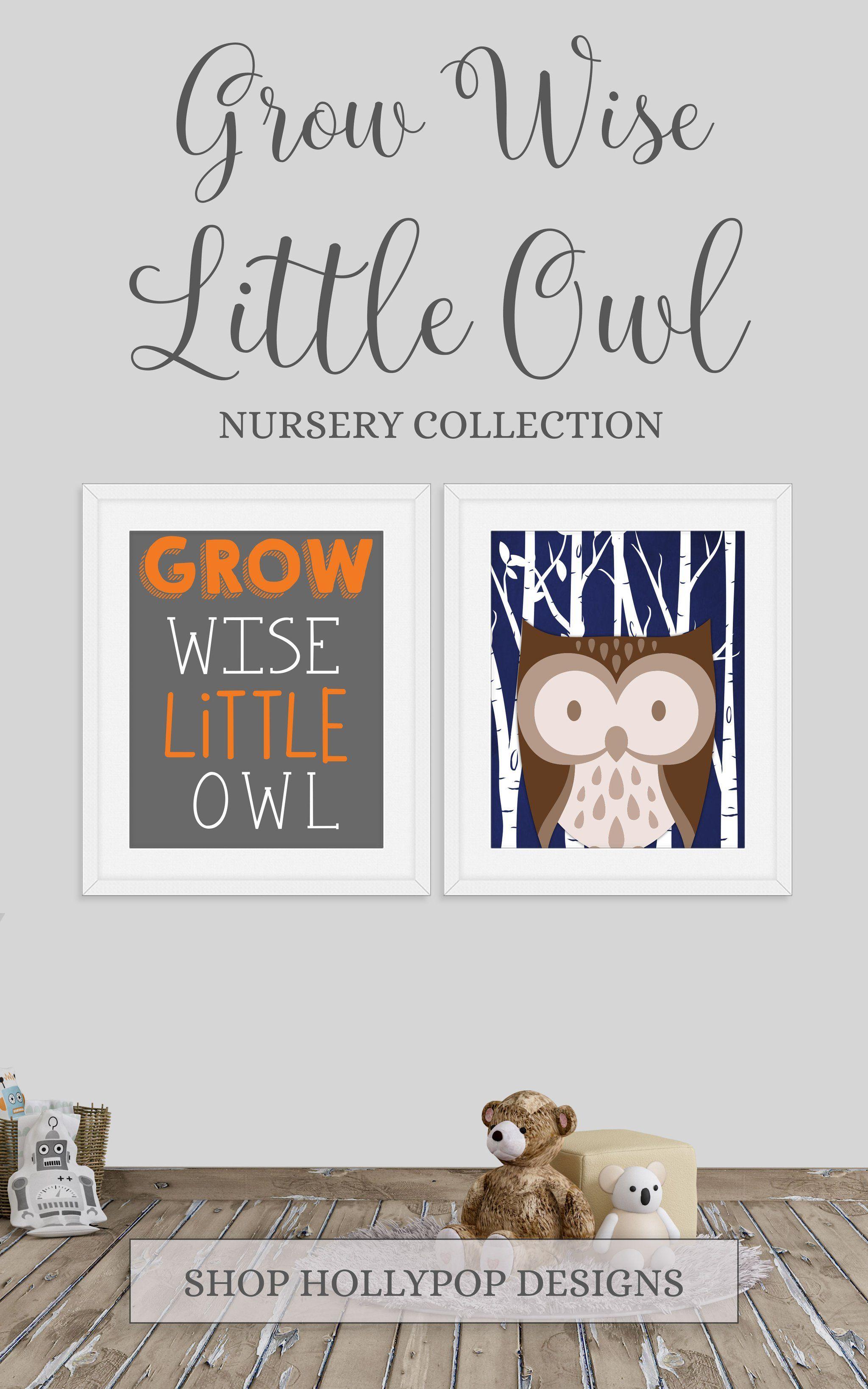 Navy Blue Owl Nursery Decor Grow Wise Little Owl Printable Boy