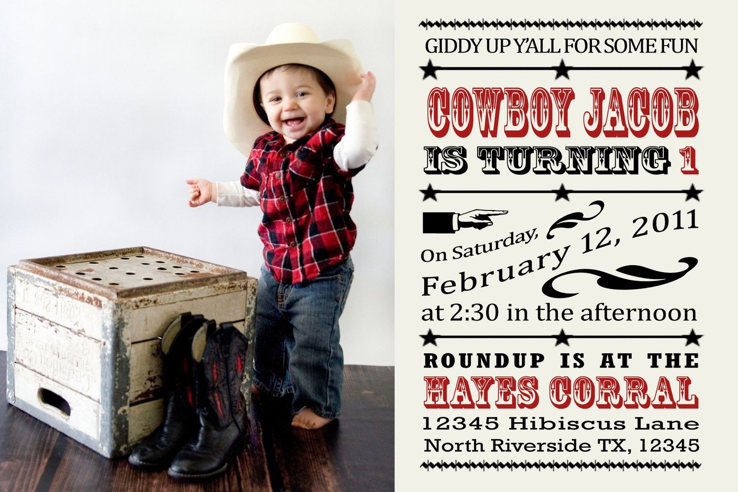 Cowboy Invitation - Giddy Up Western Birthday Theme | Party Party ...