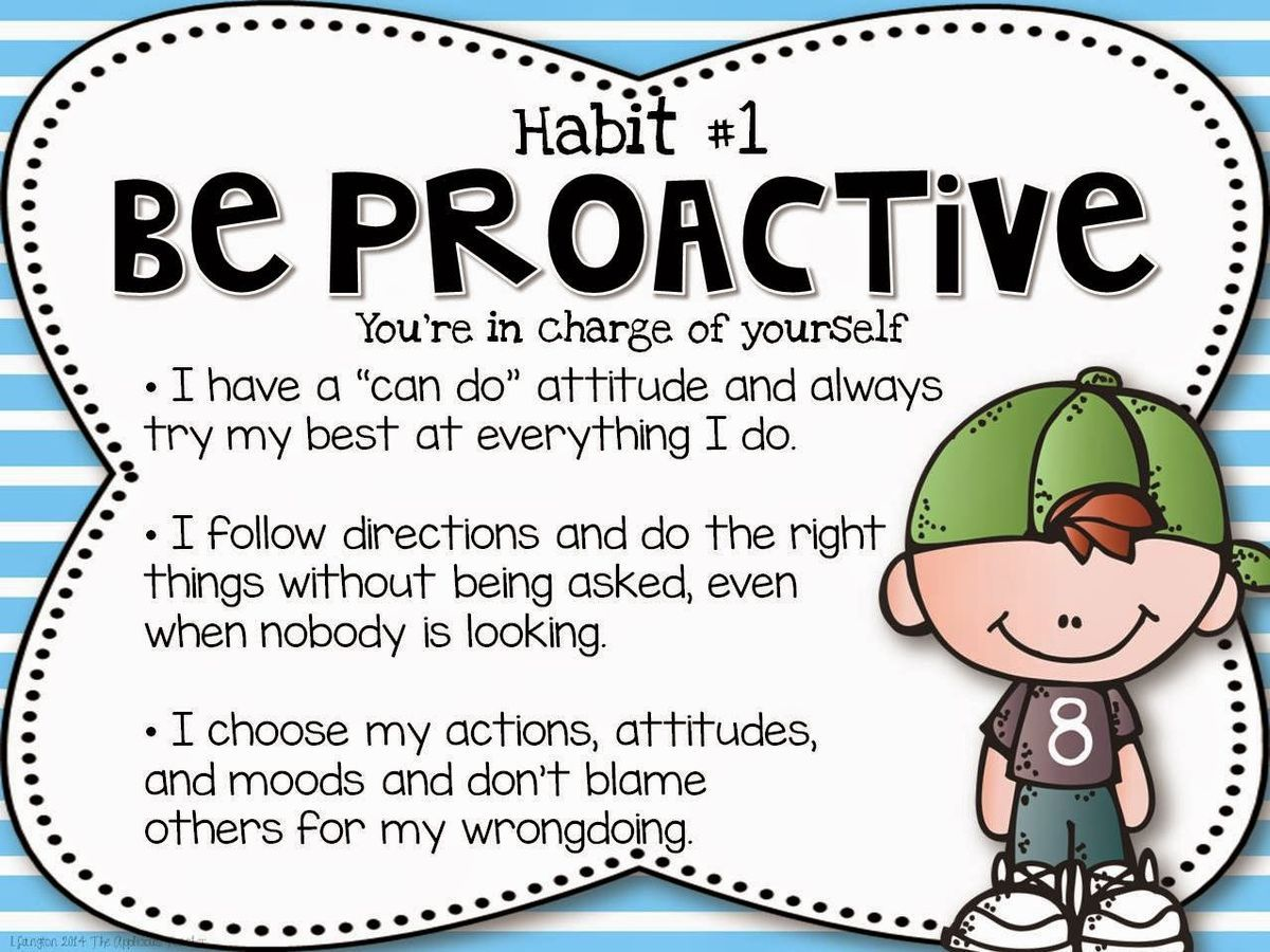 The Leader In Me Posters Habit 1 Be Proactive Free Set