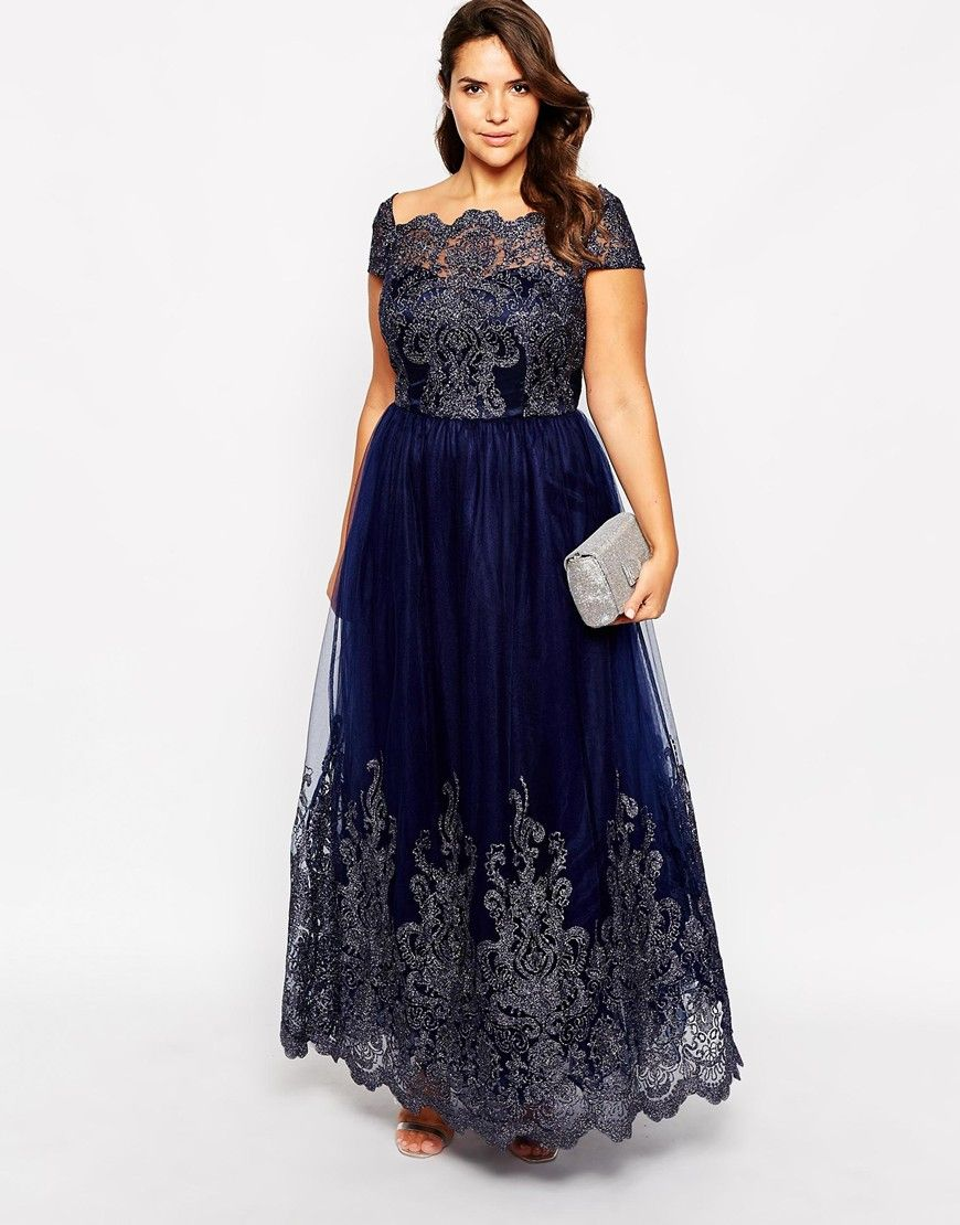 Image of chi chi london plus metallic lace cap sleeve maxi prom